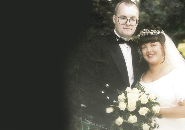 Janine Murtagh on her wedding day with husband Stephen
