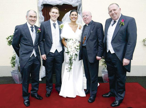 Bishop John McAreavey with his nephew John McAreavey and wife Michaela on their wedding day