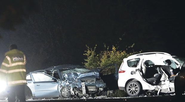 The scene of the car crash on the main Brookeborough to Fivemiletown Road last night