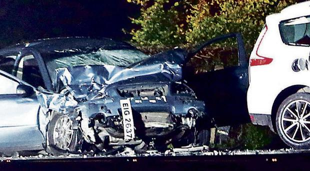 The scene of the fatal accident on the Enniskillen to Fivemiletown road