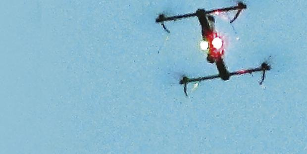 Unmanned Aerial System flew over the device for an aerial inspection, relaying images back to bomb disposal officers