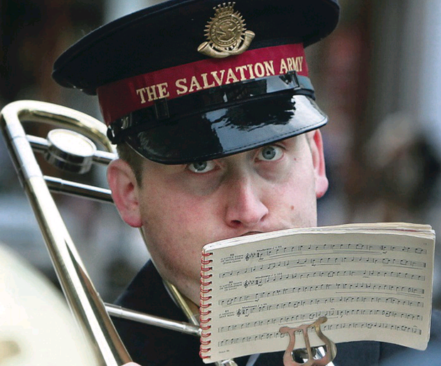 A Salvation Army band playing carols in Belfast
