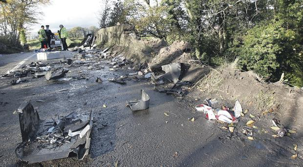 The scene of the crash at a bridge on the outskirts of Draperstown