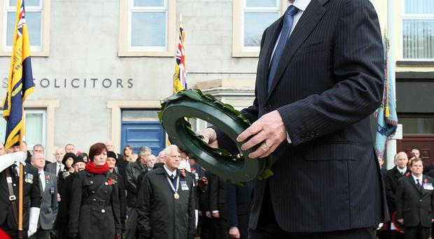 Taoiseach Enda Kenny lays a wreath at the cenotaph in Enniskillen