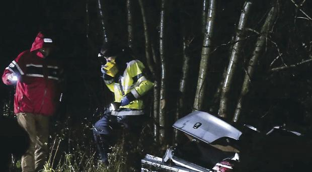 The scene of the crash in Co Fermanagh where the two men died