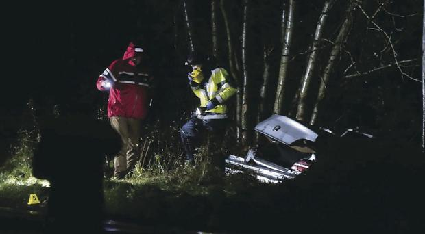 The scene of the crash on the main Kesh to Pettigo road