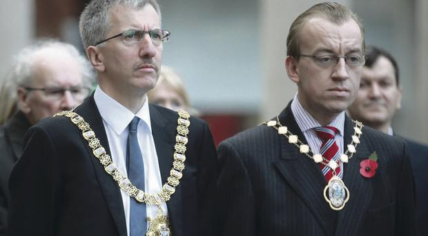 Lord Mayor Mairtin O Muilleoir and deputy Lord Mayor Christopher Stalford at Belfast cenotaph