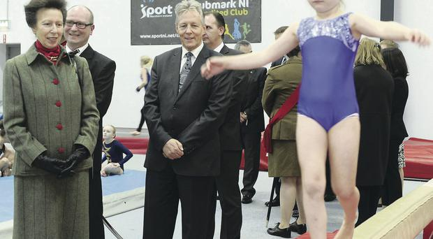 Princess Royal and First Minister Peter Robinson watch youngsters from Rathgael Gymnastics & Tumbling Club in Bangor