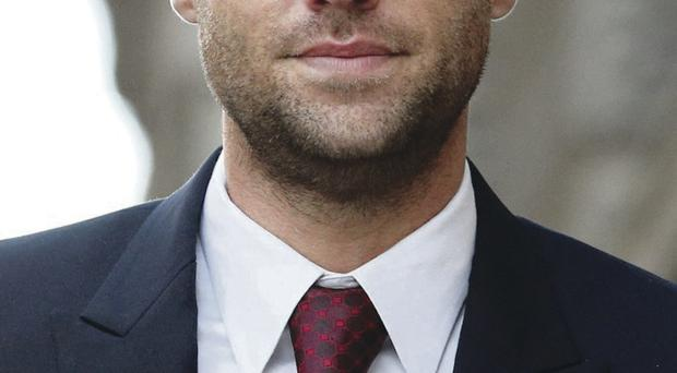 Calum Best arrives at the Old Bailey yesterday to give evidence at phone hacking trial