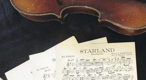 Wallace Hardy sheet music at a Titanic exhibition on board the Nomadic Ship, Titanic Quarter