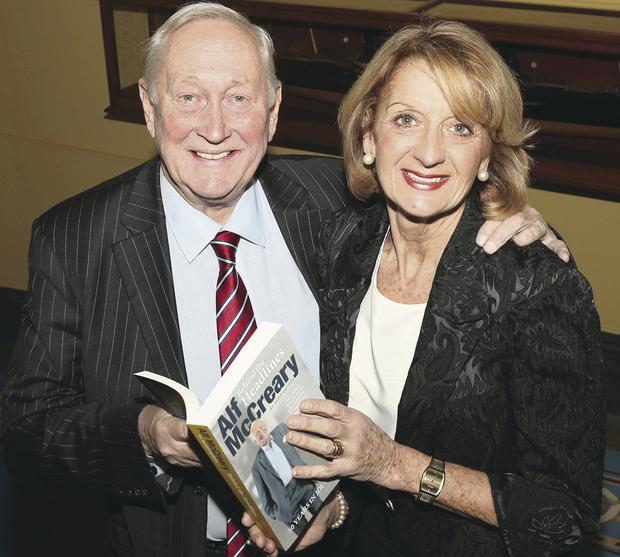 Alf McCreary with his wife Hilary at the launch of his new book Behind The Headlines at Belfast Harbour Commissioners' Office