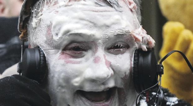 Stephen Nolan gets a pie in the face for fundraising for Children in Need