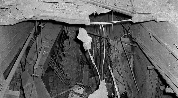The wreckage left at The Tavern in the Town pub in Birmingham after a bomb exploded