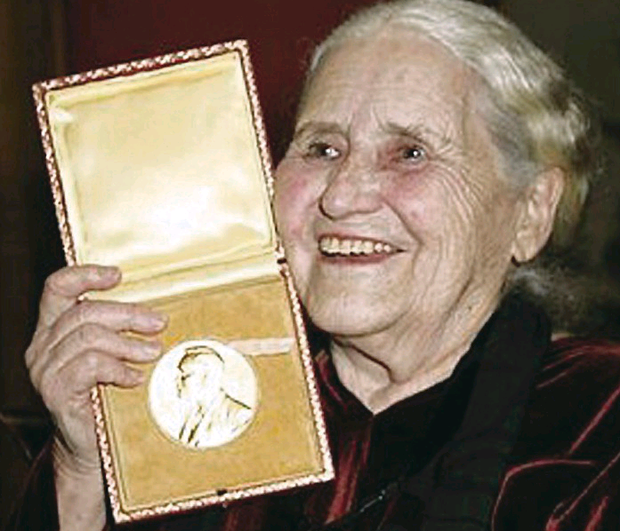 Doris Lessing with her Nobel Prize for Literature