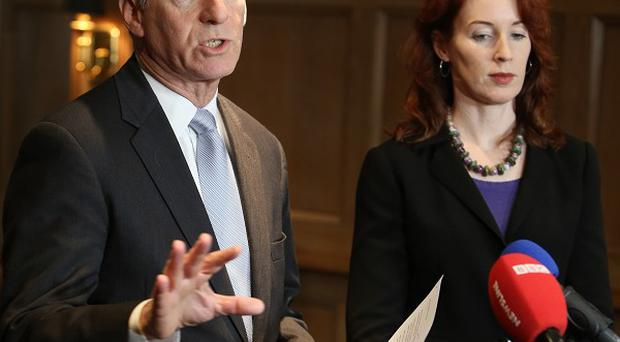 Dr Richard Haass, with Harvard professor Meghan O'Sullivan, speaking to the media at the Europa hotel in Belfast