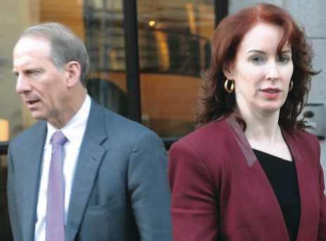 Richard Haass and Meghan O'Sullivan outside the Europa Hotel in Belfast