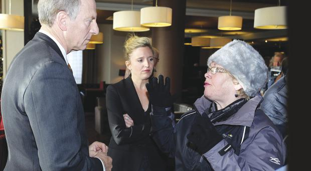 Bloody Sunday relative Kate Nash confronts Richard Haas during his visit to Derry