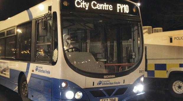 The bus targeted in the dissident bombing bid intended for Strand Road PSNI base