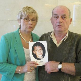 Breege and Stephen Quinn, whose 21-year-old son Paul was battered to death in October 2007