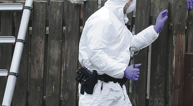 Forensic scientists comb the scene of the Newry shooting