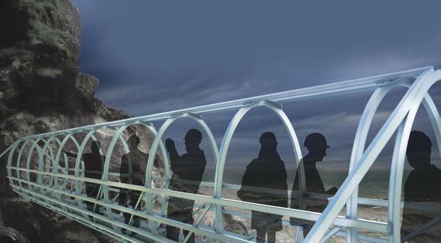 Artist's impression of the new bridge walkway to be constructed at the Gobbins