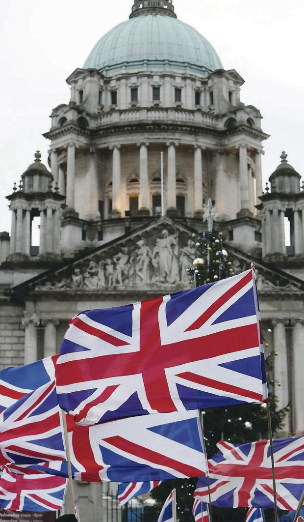 A Union flag protest at Belfast City Hall