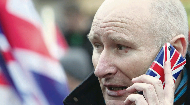 Billy Hutchinson pictured at a Union flag protest in Belfast last December