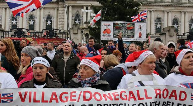 Loyalists marched from Belfast City Hall in a demonstration described by police as peaceful