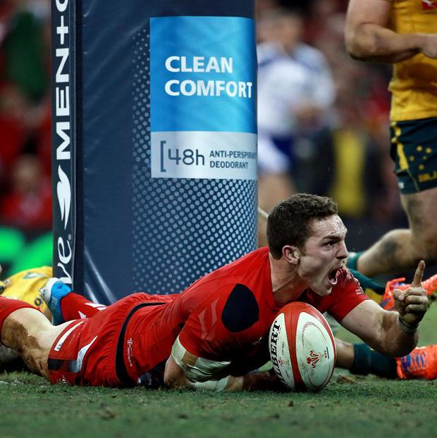 Wales star George North celebrates scoring a try against Australia at the Millennium Stadium, Cardiff. But despite his efforts, Australia won the game, losing Steve Richards most of the money he gained on a football accumulator bet.