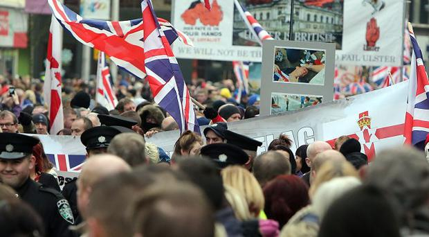 Thousands took part in a rally outside Belfast City Hall