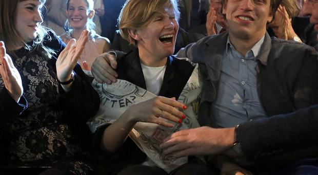 Laure Prouvost (centre) shows her surprise as she is announced as the winner of this year's Turner Prize