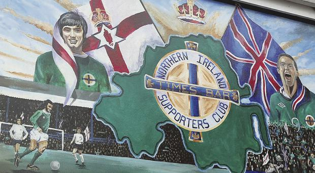 Cheers! David Healy and George Best mural outside Times Bar, Belfast