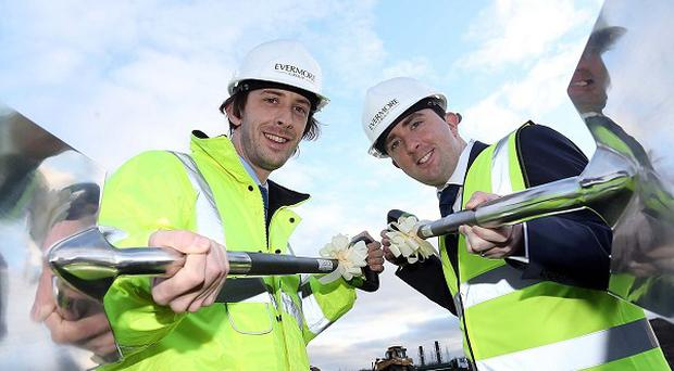 Stephen and Ciaran Devine, co-founders of Evermore, as work starts on the £81 million biomass renewable power plant being built on a site at Lisahally (Evermore Group/PA)