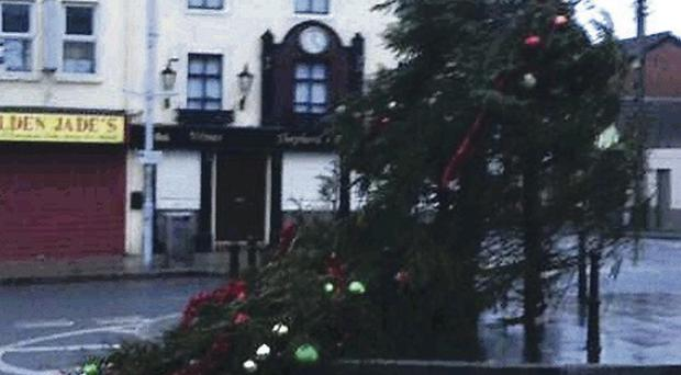 A collapsed Christmas tree in Banbridge