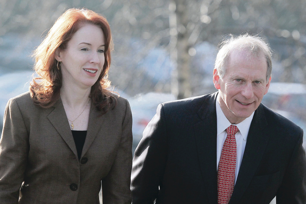 Meghan O'Sullivan and Dr Richard Haass arrive for talks at the Stormont Hotel