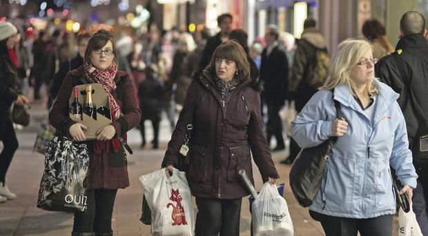 Christmas Shoppers still going into Belfast City Centre