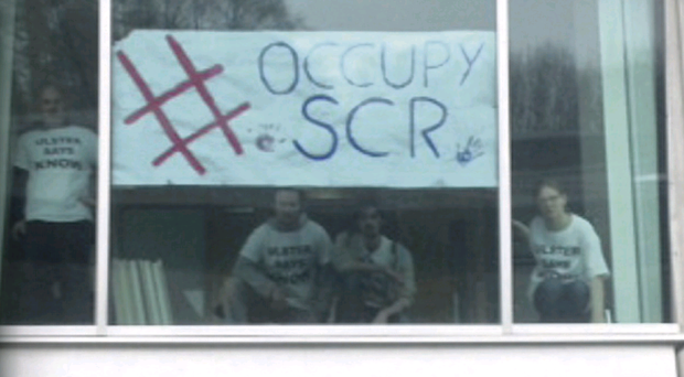 The students protesting at the University of Ulster, Coleraine