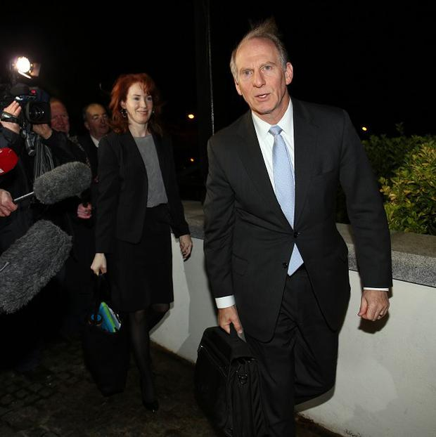 Dr Richard Haass and Meghan O'Sullivan arriving at the Stormont Hotel Belfast for the marathon peace talks which failed to reach an agreement.