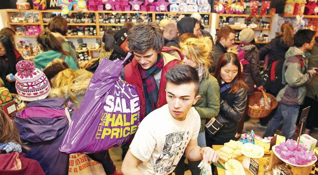 Shoppers grab a bargain in the Lush store in Cornmarket
