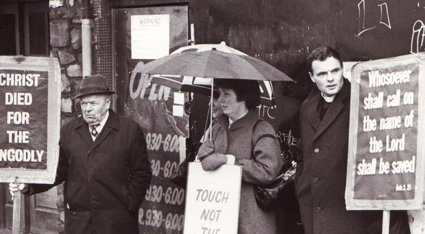 Protesters maintain their vigil outside the sex shop on Belfast's Castlereagh Road in May 1983