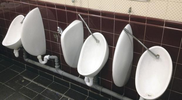 The damaged men's toilets at Belfast City Hall