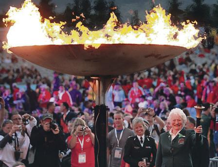2013 World Police and Fire Games Opening Ceremony. Dame Mary Peters lights the cauldron.
