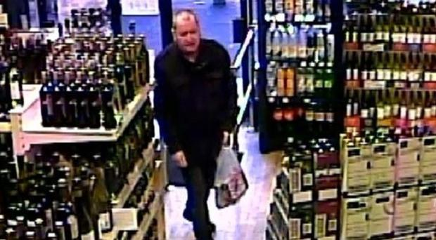 Basil McAfee in an off-licence on the Cavehill Road, North Belfast (PSNI)