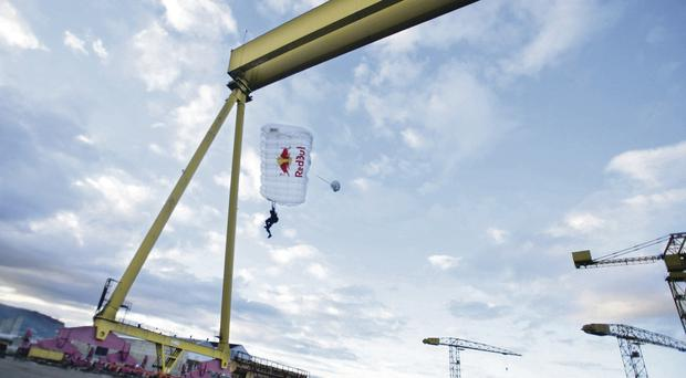 Belgian daredevil Cedric Dumont jumped from the Samsom crane, with permission, in 2006