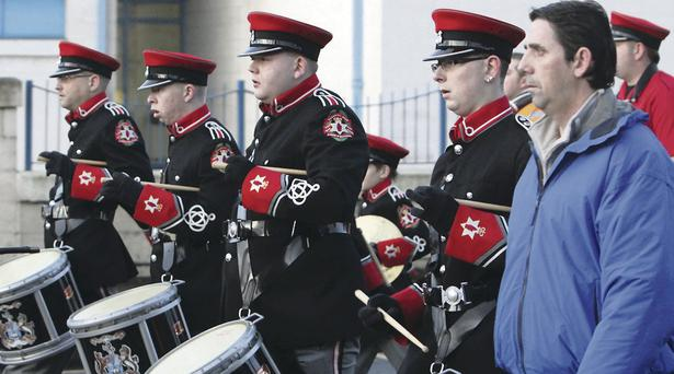 Members of the Shankill Star Band parades down the Crumlin Road