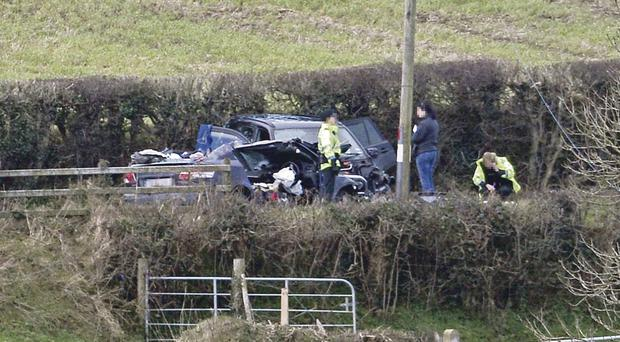The scene outside Sion Mills in Co Tyrone where one person died following a collision