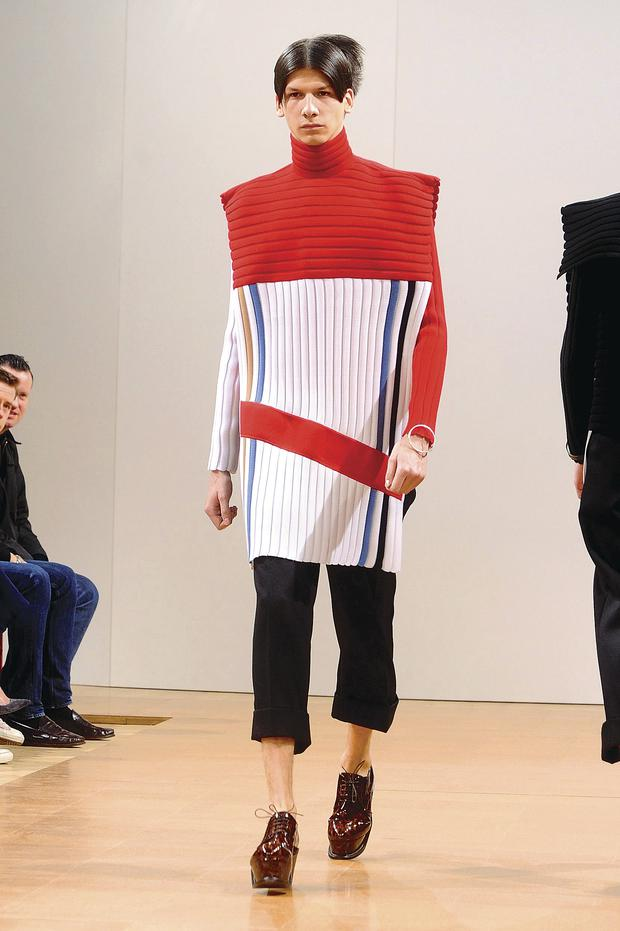 Male model at JW Anderson show during the London Collections: Men Autumn/ Winter event