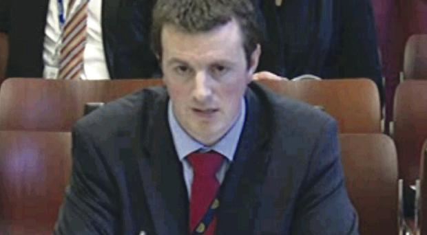 Stephen Brimstone in front of the Stormont committee