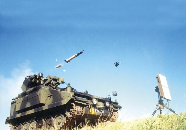 One of the Thales missiles is fired from an armoured vehicle