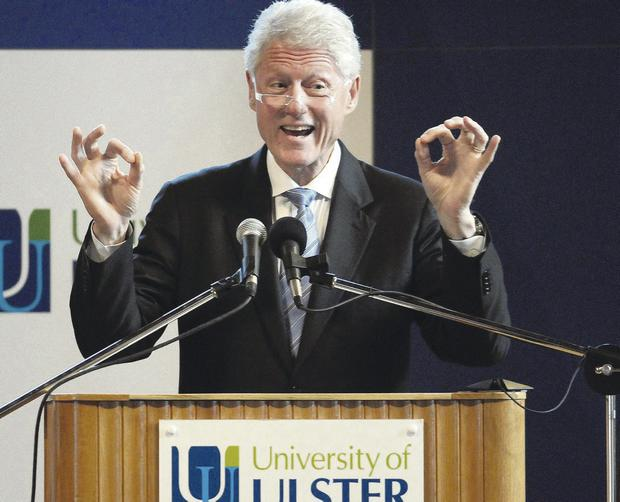 Former President Clinton giving an address at the University of Ulster's Magee campus in 2010